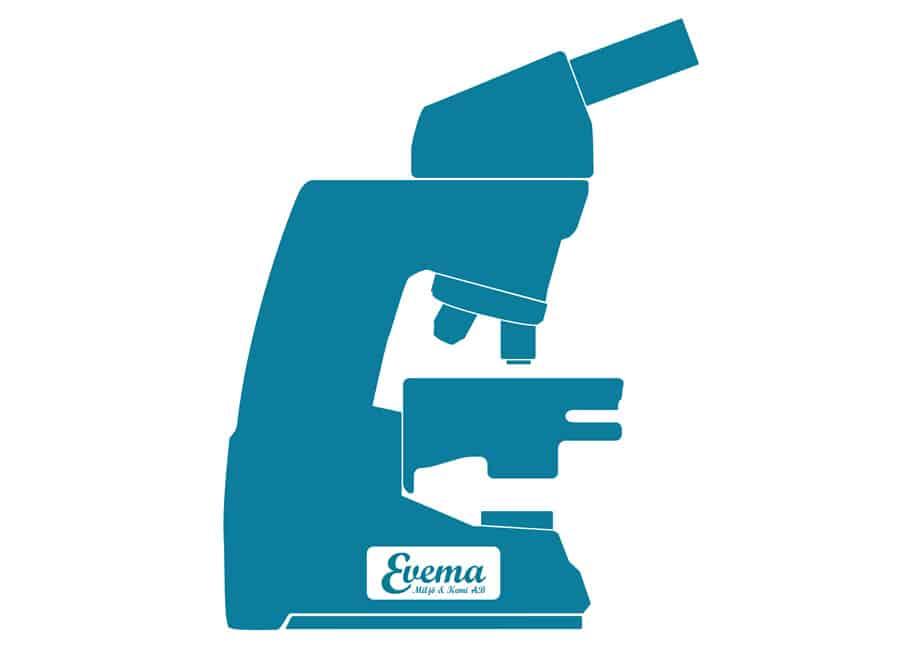 Grafisk bild på ett mikroskop som används vid asbestprov